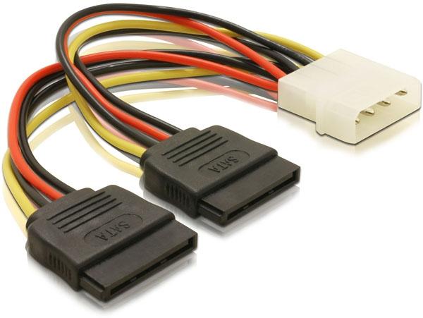 Delock 60102 2 x SATA HDD – 4pin apa Molex hálózati kábel - 0,15m