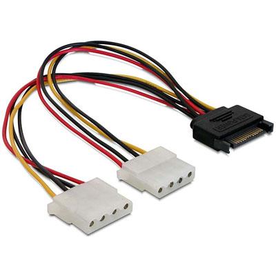 Delock 65159 15pin SATA apa - 2 x 4pin Molex anya hálózati kábel - 0,2m